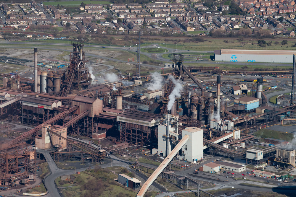 Aerial view of Tata Steel, Port Talbot