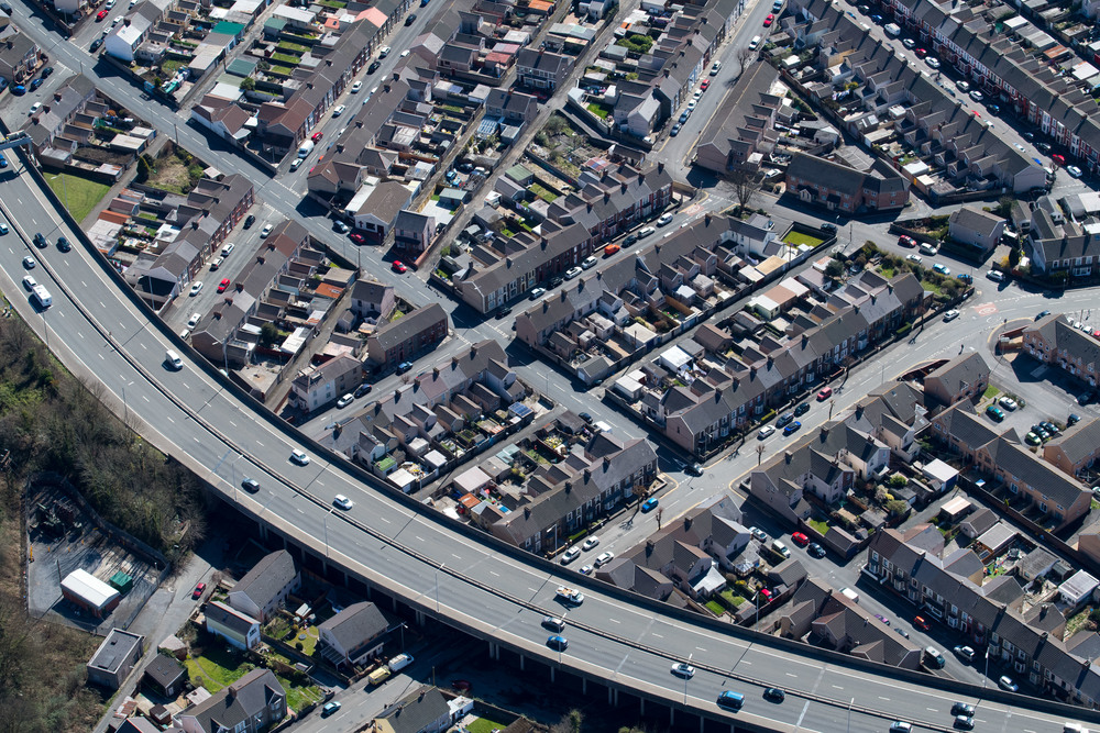 Aerial view of homes in Port Talbot, south Wales - aerial photography