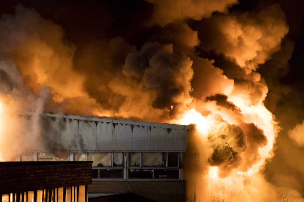 Fire at Glyn Derw high school, Cardiff, south Wales - press photography