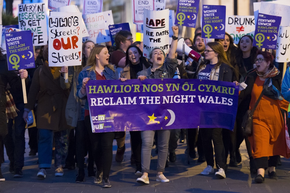 CARDIFF, WALES - APRIL 29:  Reclaim the Night march in Cardiff city centre, south Wales. Reclaim the Night is an international movement against sexual violence.  (Photo by Matthew Horwood)