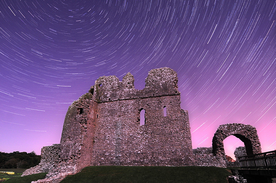 Star trails at Ogmore Castle, Wales