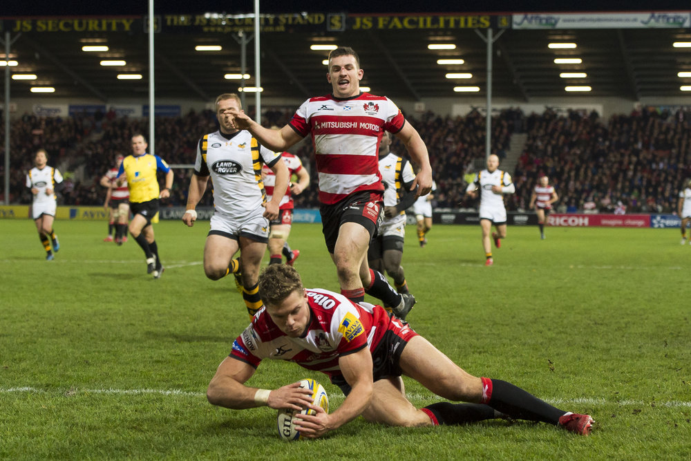Henry Purdy  of Gloucester Rugby scores a try during the Aviva Premiership match between Gloucester Rugby and Wasps at Kingsholm Stadium on November 19, 2016 in Gloucester, England.