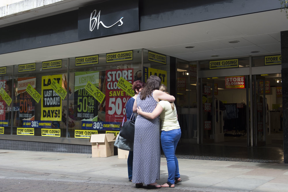NEWPORT, WALES - JULY 23: Closure of the BHS (British Home Stores) store on Commercial Street on July 23, 2016 in Newport, Wales. The store is one of 20 stores across the UK to close today. The collapse of BHS put 11,000 UK jobs at risk and left a £571m pension deficit. A knighthood given to former BHS owner Sir Philip Green is under review. (Photo by Matthew Horwood/Getty Images)