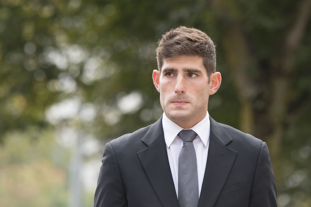 CARDIFF, WALES - OCTOBER 11: Chesterfield F.C football player Ched Evans arrives at Cardiff Crown Court to stand trial for rape on October 11, 2016 in Cardiff, Wales. The former Wales striker was jailed in 2012 for raping a 19-year-old woman, but had his conviction quashed by the Court of Appeal in April. (Photo by Matthew Horwood)