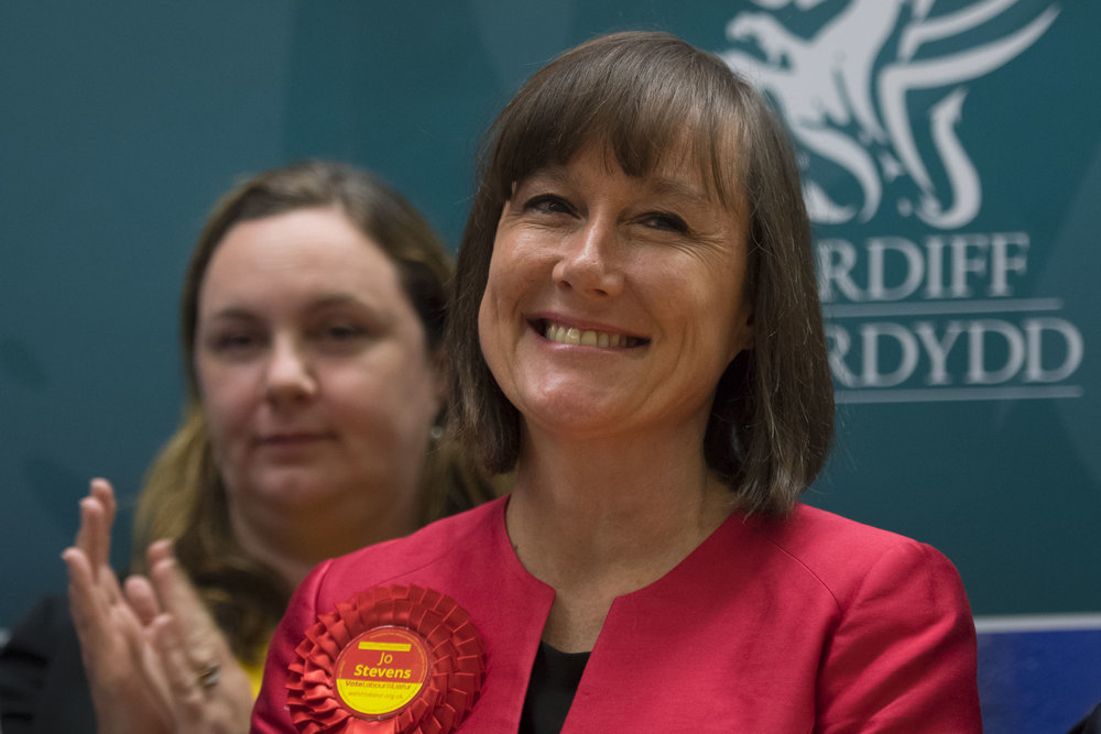 CARDIFF, UNITED KINGDOM - JUNE 09: Jo Stevens smiles after winning Cardiff Central for Labour increasing her majority to more than 17,000 at the Sport Wales National Centre on June 9, 2017 in Cardiff, United Kingdom. After a snap election was called, the United Kingdom went to the polls yesterday following a closely fought election. The results from across the country are being counted and an overall result is expected in the early hours. (Photo by Matthew Horwood/Getty Images)