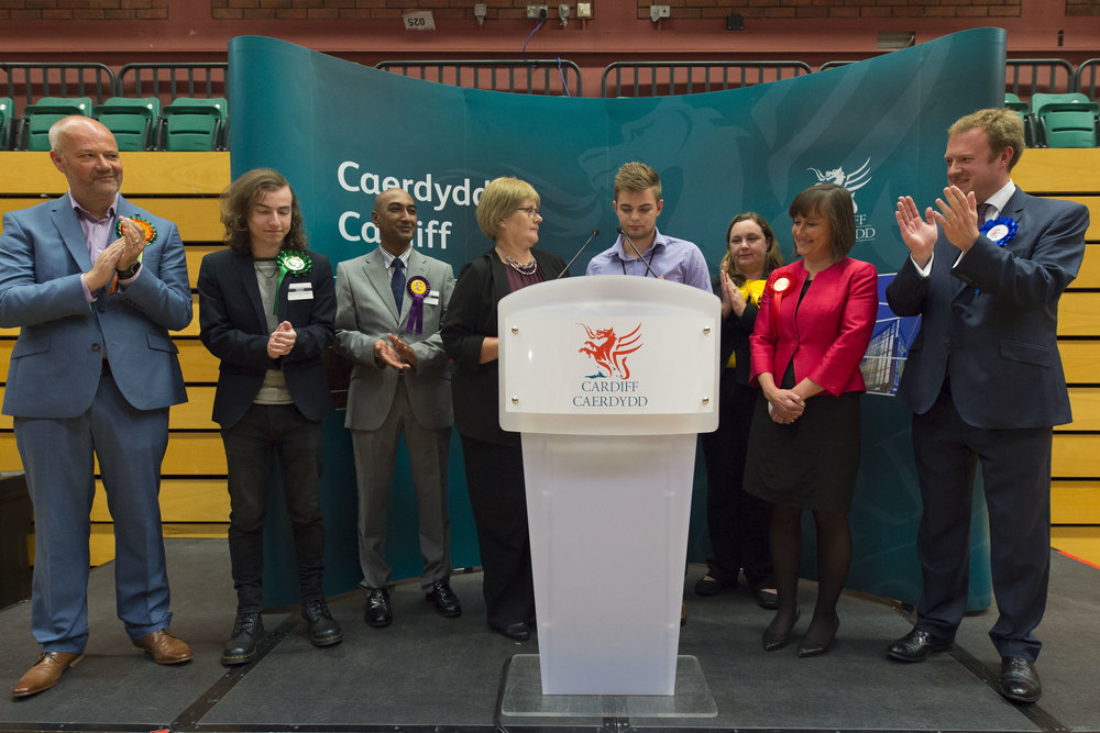 CARDIFF, UNITED KINGDOM - JUNE 09: Jo Stevens (2nd from right) wins Cardiff Central for Labour increasing her majority to more than 17,000 at the Sport Wales National Centre on June 9, 2017 in Cardiff, United Kingdom. After a snap election was called, the United Kingdom went to the polls yesterday following a closely fought election. The results from across the country are being counted and an overall result is expected in the early hours. (Photo by Matthew Horwood/Getty Images)
