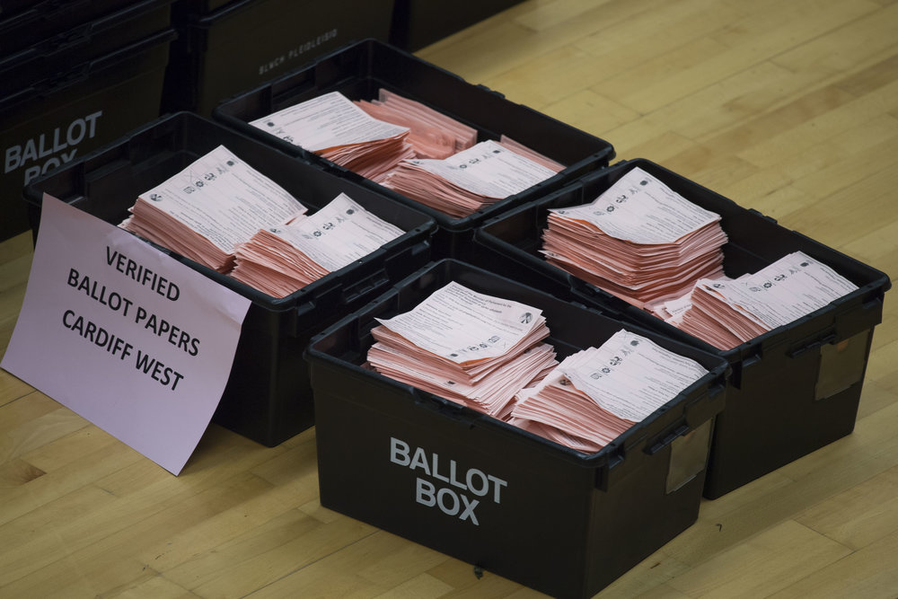 CARDIFF, UNITED KINGDOM - JUNE 09: Ballot boxes are seen at the Sport Wales National Centre on June 9, 2017 in Cardiff, United Kingdom. After a snap election was called, the United Kingdom went to the polls yesterday following a closely fought election. The results from across the country are being counted and an overall result is expected in the early hours. (Photo by Matthew Horwood/Getty Images)