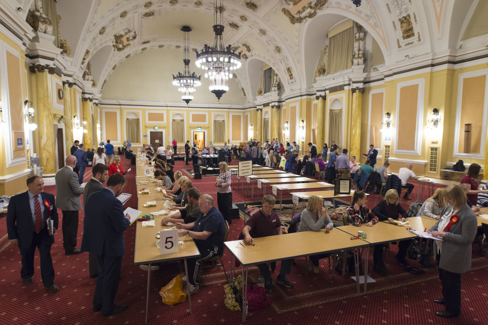 CARDIFF, UNITED KINGDOM - JUNE 08: A general view as ballot papers are counted at City Hall on June 8, 2017 in Cardiff, United Kingdom. After a snap election was called, the United Kingdom went to the polls yesterday following a closely fought election. The results from across the country are being counted and an overall result is expected in the early hours. (Photo by Matthew Horwood/Getty Images)