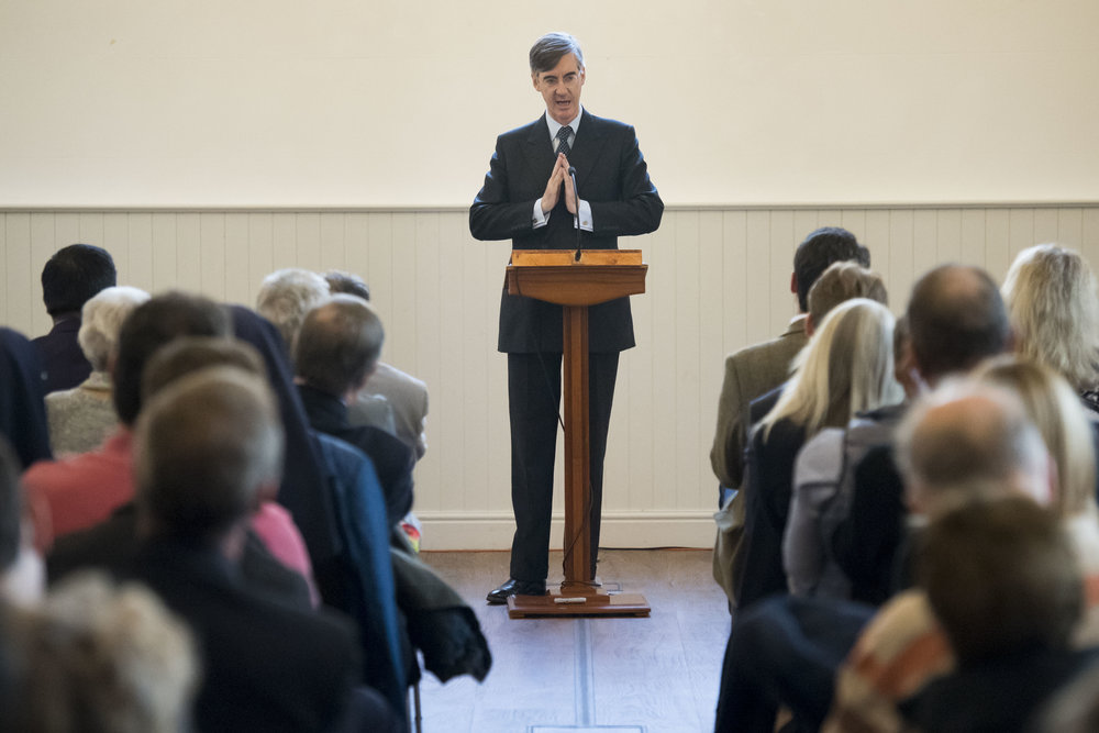 "CARDIFF, WALES - SEPTEMBER 29: Jacob Rees-Mogg, MP for North East Somerset, speaks during a talk called Faith in the Future at the Cornerstone Church on September 29, 2017 in Cardiff, Wales. The talk, titled ""Faith in the Future"", explores issues surrounding the importance of faith in the public and private life of our society. Jacob Rees-Mogg has recently caused controversy over his opposition to abortion after rape or incest. (Photo by Matthew Horwood/Getty Images)"