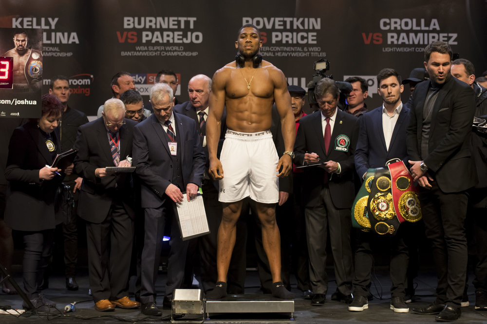 CARDIFF, WALES - MARCH 30: Anthony Joshua during the weigh-in at the Motorpoint Arena on March 30, 2018 in Cardiff, Wales. Anthony Joshua will fight Joseph Parker in a heavyweight unification match at the Principality Stadium in Cardiff on March 31. (Photo by Matthew Horwood/Getty Images)
