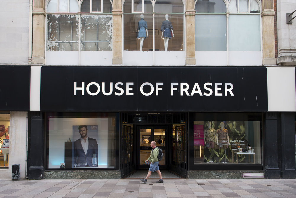 CARDIFF, WALES - JUNE 07: A general view of the House of Fraser store, known locally as Howells, on June 7, 2018 in Cardiff, Wales. The department store chain today announced that it would close 31 of its 59 stores (including the Cardiff store) putting 6000 jobs at risk.
