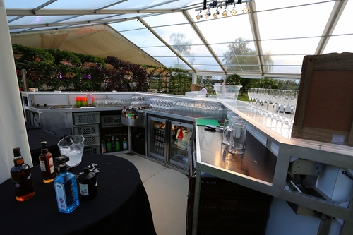 Mobile Bar Unit with double door display fridge, speed rail and ice well