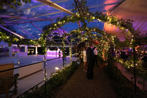 LED mobile bar unit under a clear roof marquee