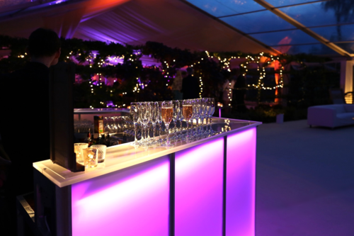 4.5m Mobile Bar Unit under a clear roof marquee by Academy Marquees