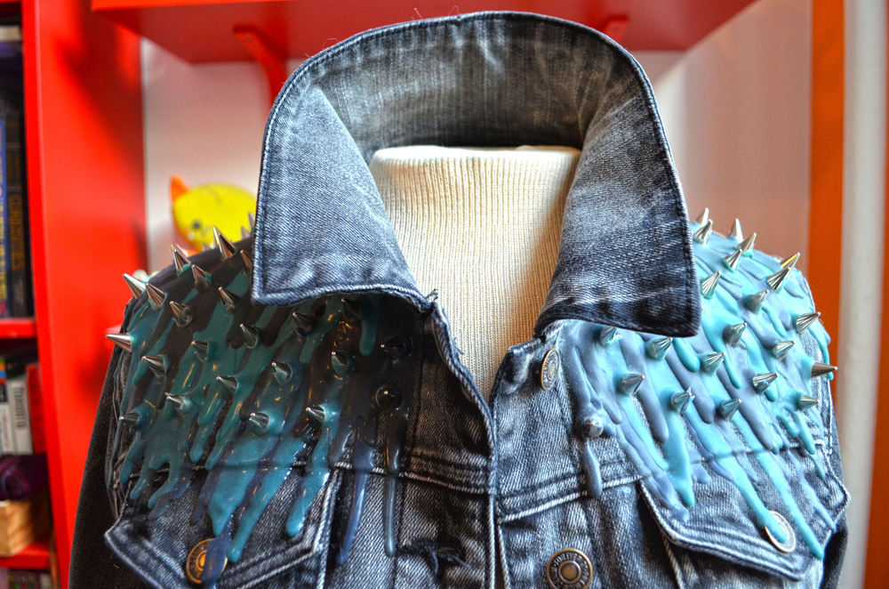 Silicone Drip and Spiked Denim Jacket