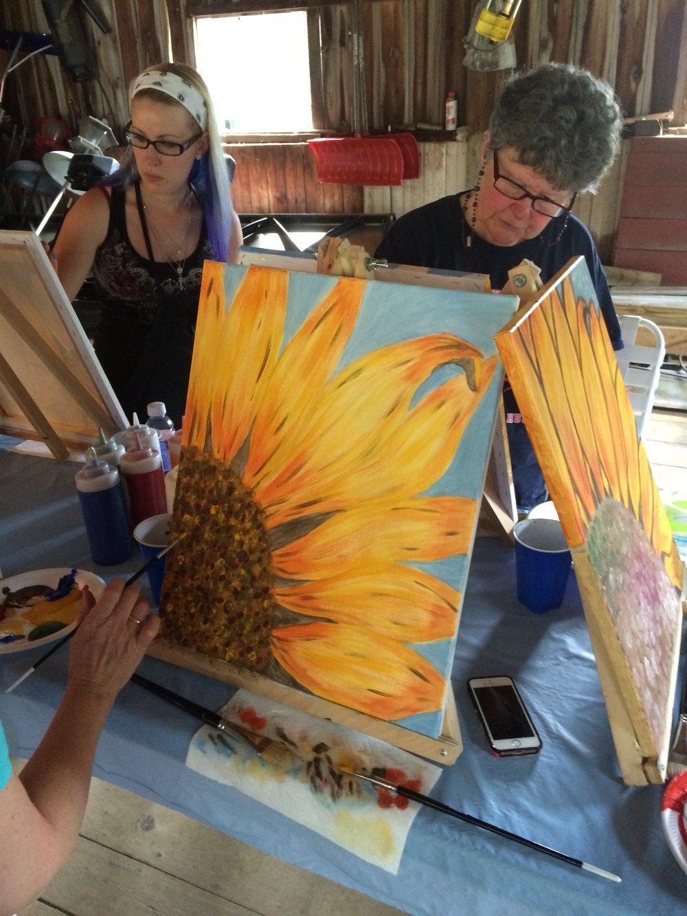 Painting Sunflowers in a barn