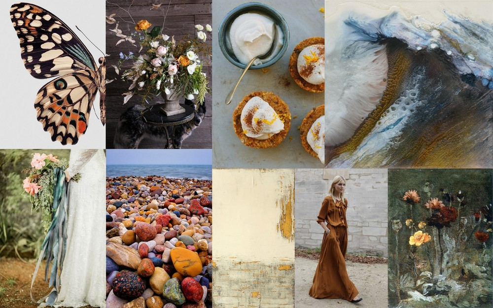1. Archival print of butterfly wing  2. Arrangement by Saipua  3. Raw carrot cakes with orange maple cream 4. Lia Melina, Songs of Melusina 1  5. Bouquet image  6. Lake Huron beach  7. Christian Hetzel, Artifact  8. Street Style  9. Vincent Van Gogh 1886, Still Life with Scabiosa and Ranunculus