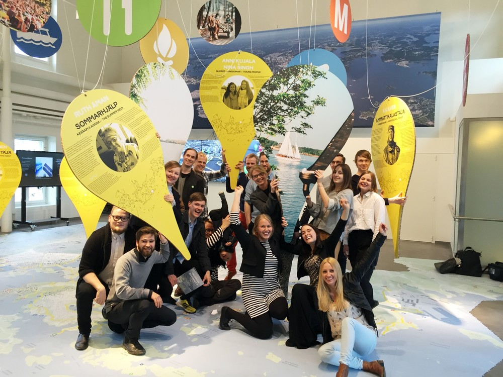 Uusi Kaupunki collective pictured at the Helsinki city planning office summer exhibition space Laituri.