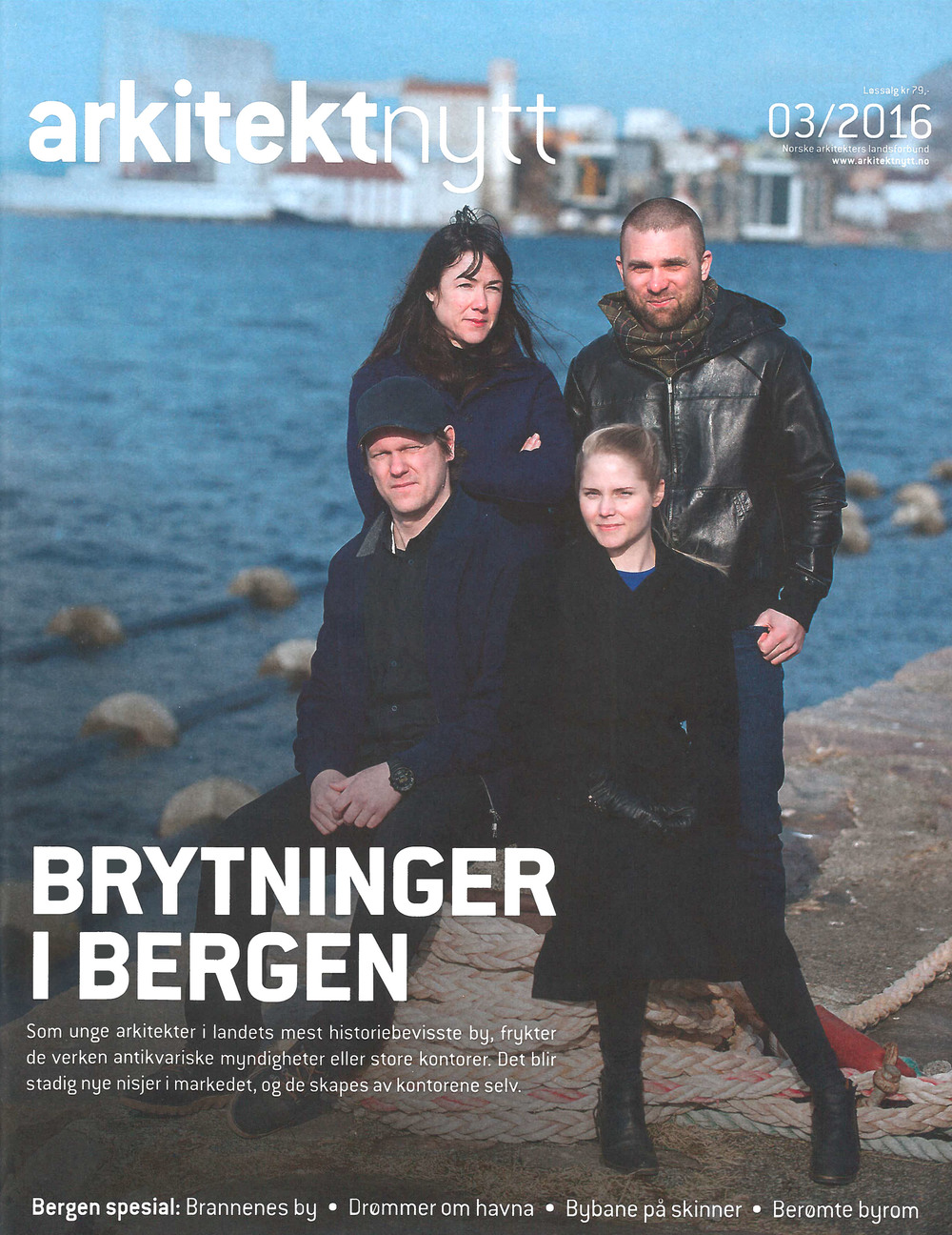 First time as cover girl! Silje Klepsvik from Kaleidoscope poses on a rare sunny Bergen afternoon with Marina Bauer and Espen Folgerø from OPA form and Philip Kvalbein from Kvalbein Arkitektur. In good company, in other words. Cover page: Arkitektnytt.