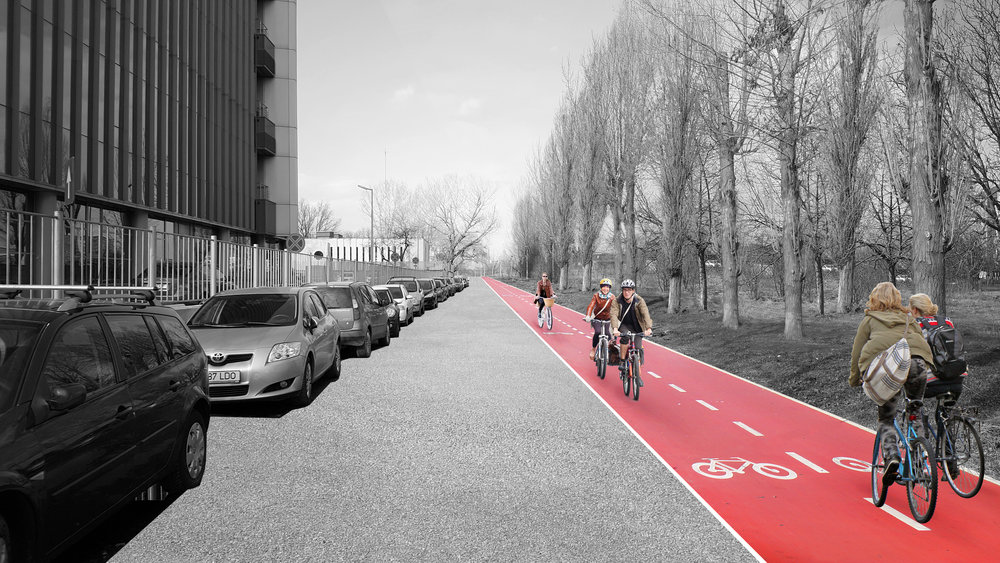 A short term vision could include a stunt bike lane painted in the area to raise awareness around public space. Illustration: Kaleidoscope