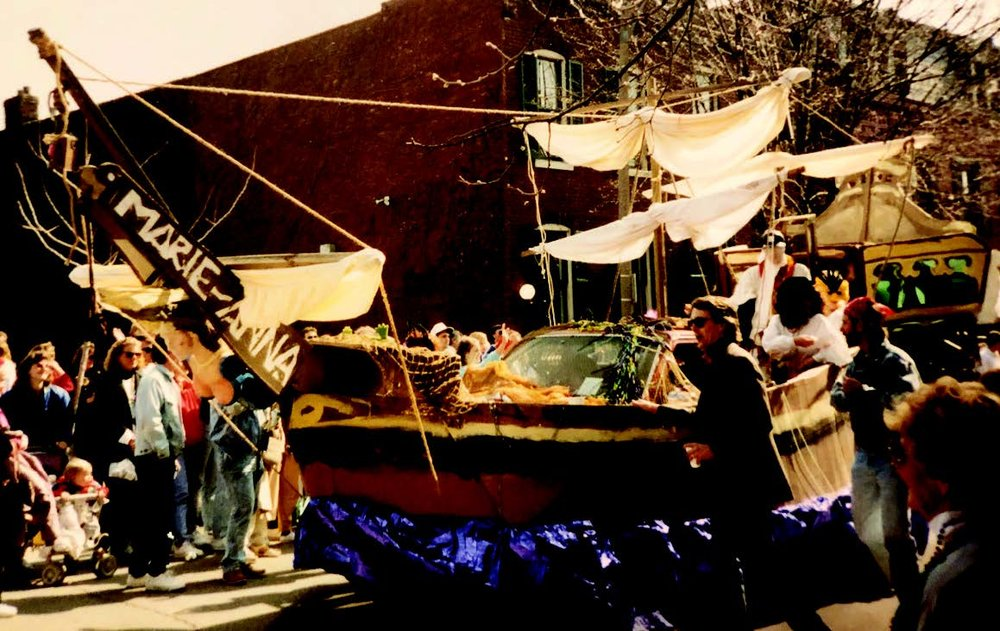Circa 1980s mardi gras float.