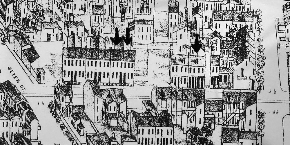 detail from the 1875 Compton and dry book, showing the 1800 block of s. 7th street. all the houses east of 7th (bottom of the drawing) were demolished when 7th was wid- ened in the 1950s. the arrows indicate the survivors on the west side of the street.