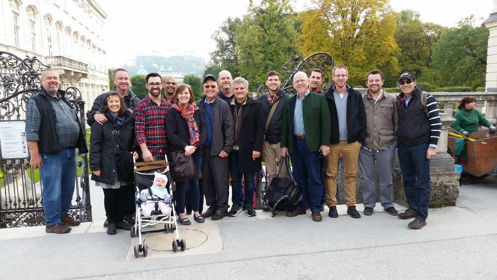 The majority of conference attendees at Mirabell Gardens during a day trip to Salzburg, Austria.