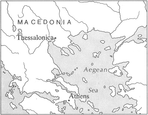 Thessalonica, a city in Macedonia (modern Thessaloniki)   Image from The HarperCollins Bible Dictionary.