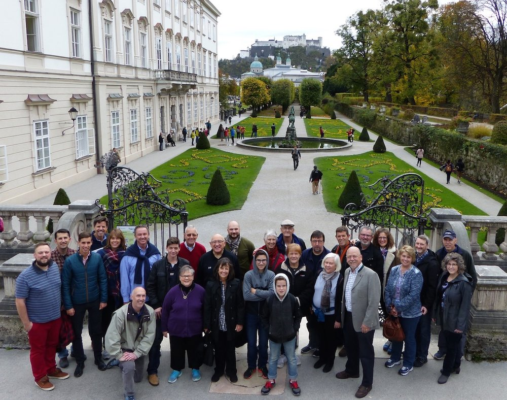 2017 Retreat attendees at the Mirabell Gardens during a day trip to Salzburg, Austria