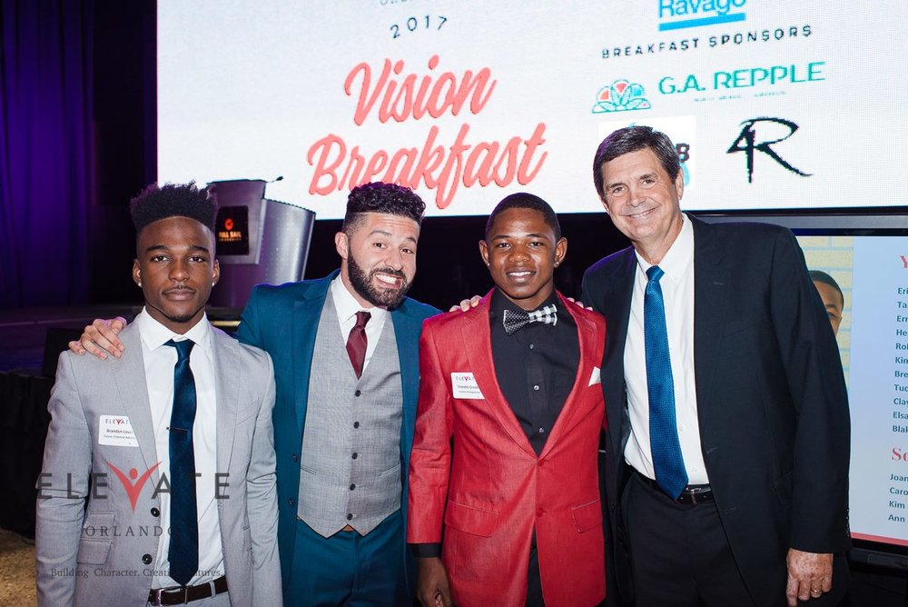 LBC Member Jack McGill, Founder and board member of Elevate Orlando pictured with students at the annual Elevate Orlando Vision Breakfast.