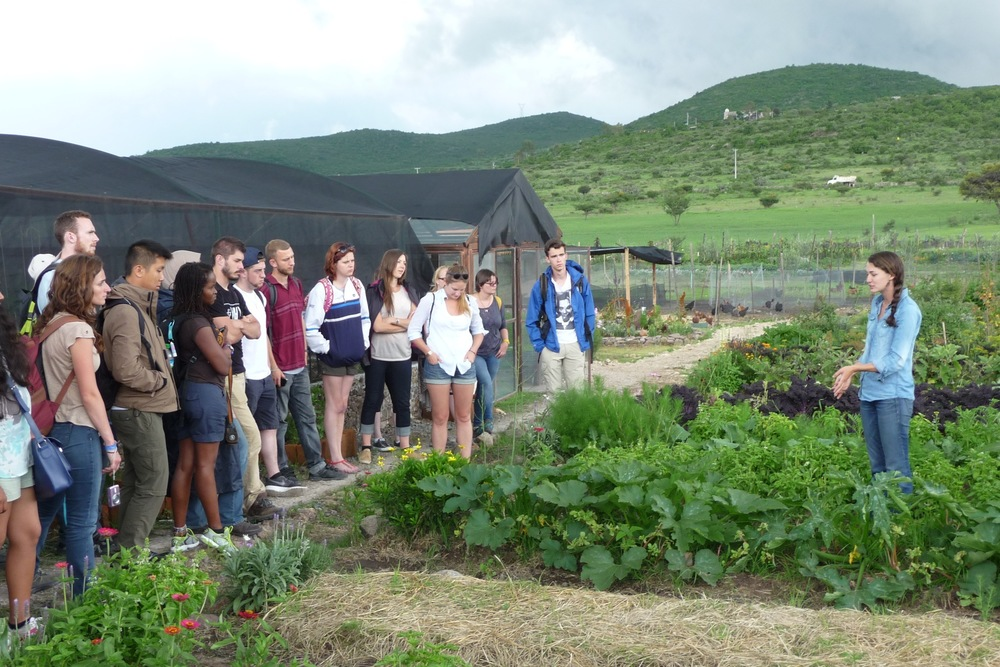 Summer school students from a Caminos de Agua course visit the Via Organica Ranch.