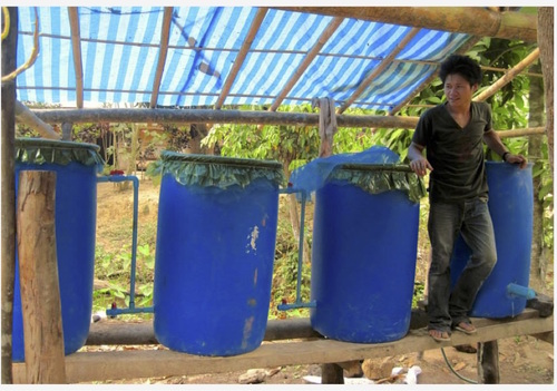 Biochar water treatment system in Karen State, eastern Burma