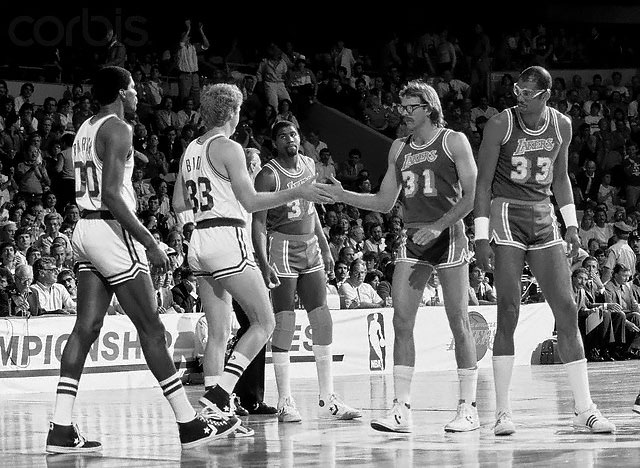 Lakers and Celtics before Game 1 of the 1985 NBA Finals