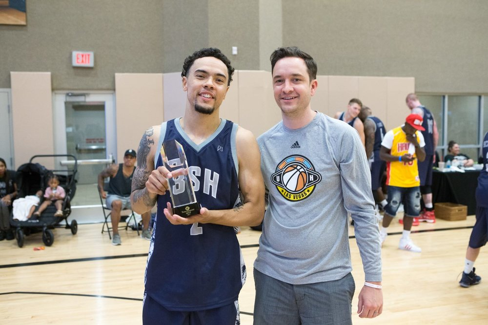 Nelson (right) posing with the 2017 Las Vegas National Tournament MVP, Dermaine Crockrell