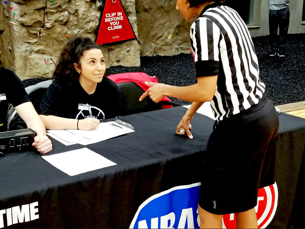 Amber Rasho at a recent Ultimate Hoops game at the Shelby Township Life Time