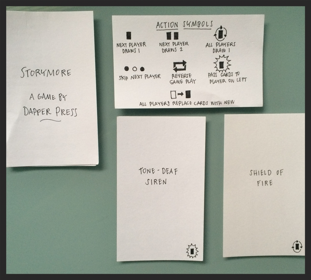 A few cards from the most recent Storymore prototype!