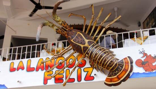"The rooftop, patio restaurant, La Langosta Feliz, has a giant lobster hanging off the building covering their ultimate, ""A."" Of course, a giant lobster can hang wherever he want, right? Sí."