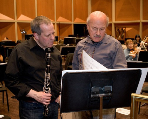 Todd and Mark Neikrug in rehearsal for the premiere of his Clarinet Concerto, a work commissioned for Todd.