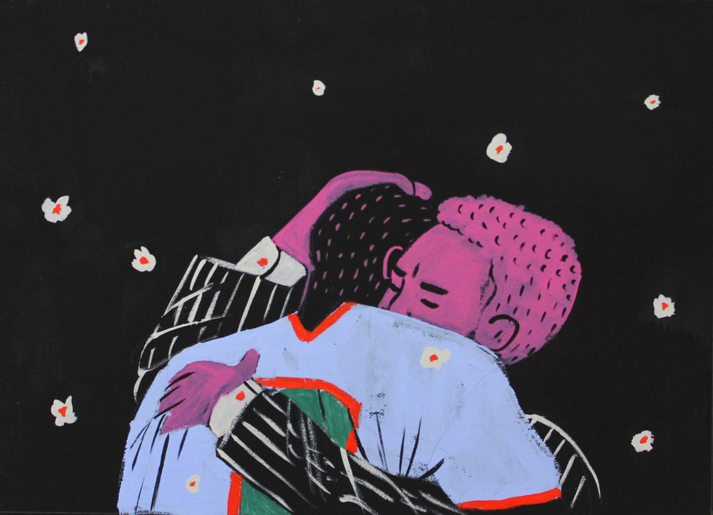 WHAT A HERO, WHAT A HEART 2017, Acrylic & Vinyl Paint on Paper, 5 X 7 Inches