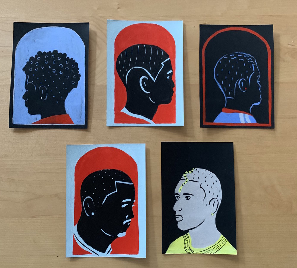Miscellaneous Barbershop Portraits, Acrylic on Paper, 5 x 7 inches, $150