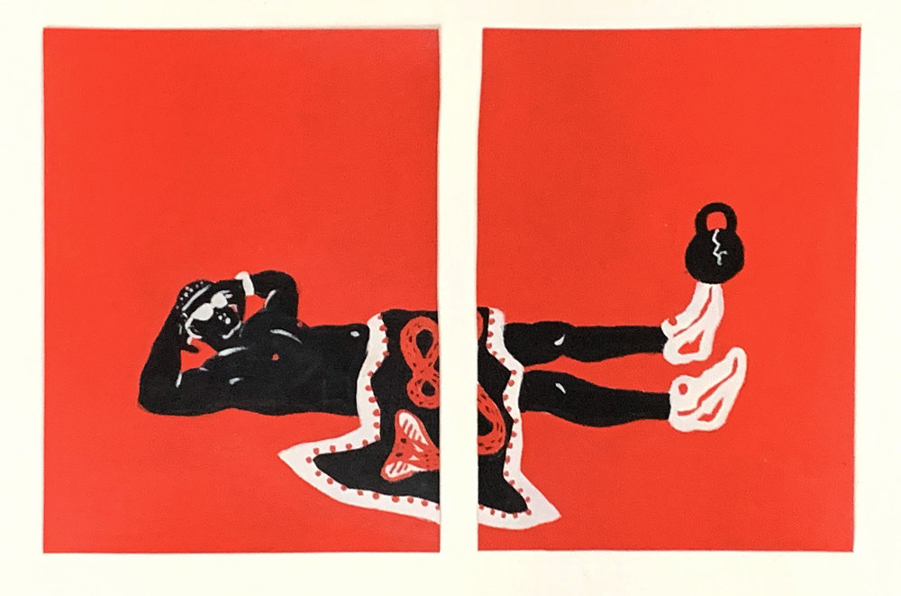 UNTITLED (pair), Acrylic on Paper, 6 1/2 x 5 1/4 inches each, $200 for set