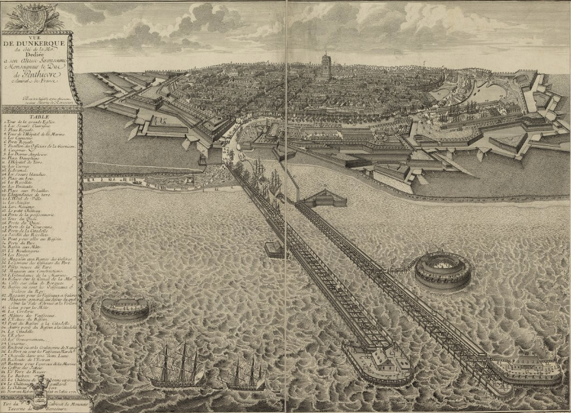 """Vue de Dunkerque du côté de la mer"" (Paris: C. Duflos, before 1713), Bibliothéque nationale de France, GED-4892."
