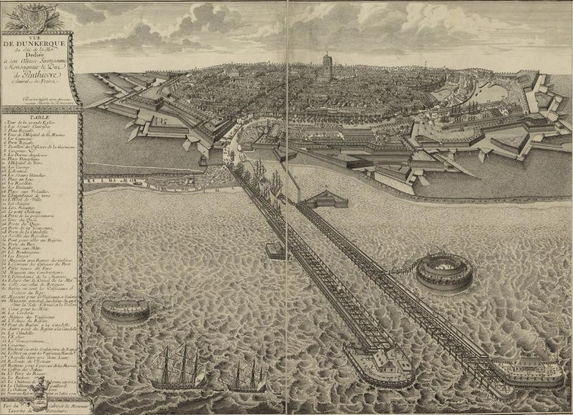 """""""Vue de Dunkerque du côté de la mer"""" (Paris: C. Duflos, before 1713), Bibliothéque nationale de France, GED-4892."""