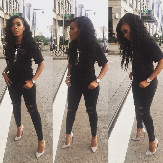 "Angela Simmons seen in our HTK ""tour"" tee. in NY."