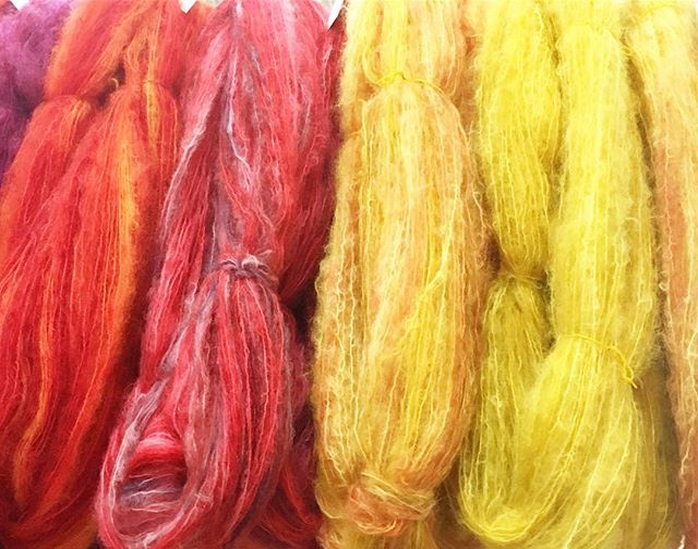 Custom dyed skeins of yarn, all ready for a special client! DM us to place an order. #knittersofinstagram #handdyed #mohair #kidmohair #madeincanada #torontoknittersfrolic #wheweavers #knittingstash #customtextiles