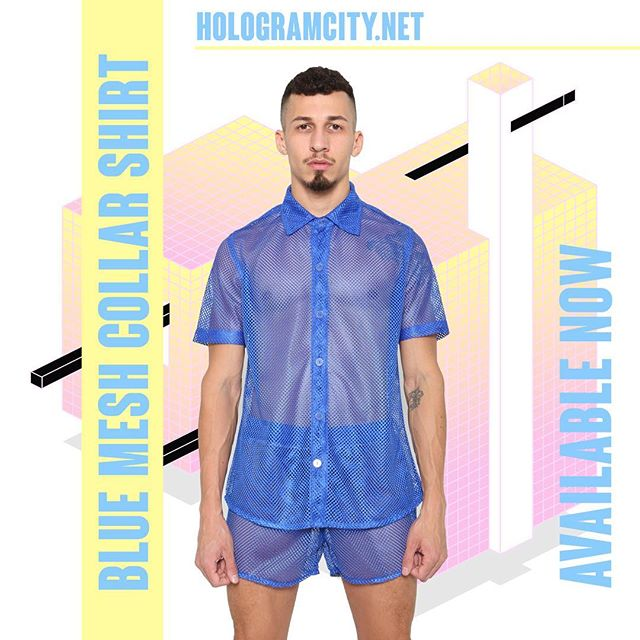 🔹MESH COLLAR SHIRT🔹 Available Now in BLUE 🔹 HOLOGRAMCITY.net 💻 Also available in Blk & Wht  #mesh #blue #azul #2018 #mensfashion #body #323