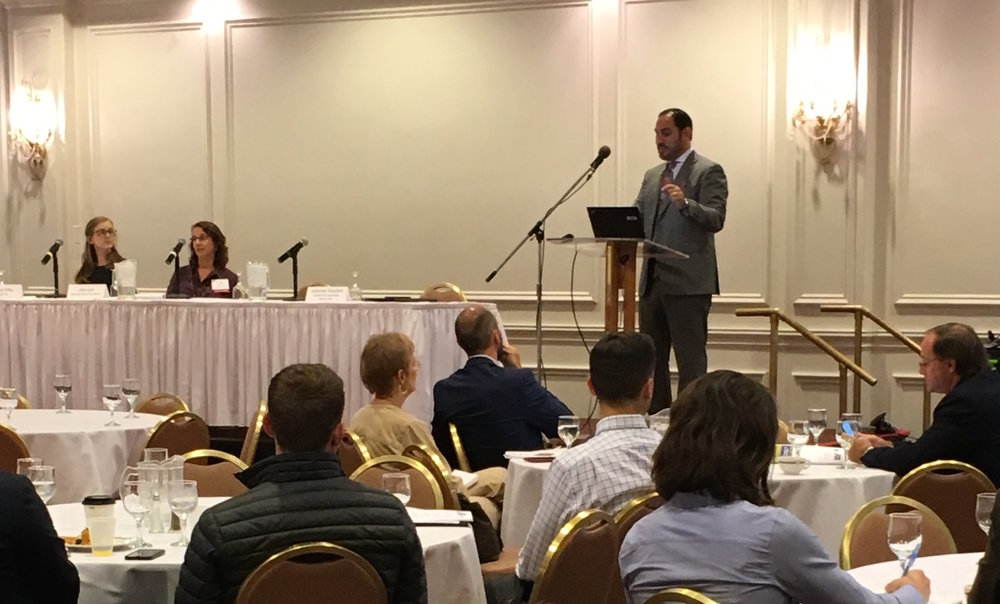RNG Coalition CEO, Johannes Escudero, speaks to the large audience who attended to hear more about renewable natural gas and biogas development at the Power from Waste workshop, October 5 in Sacramento, CA.