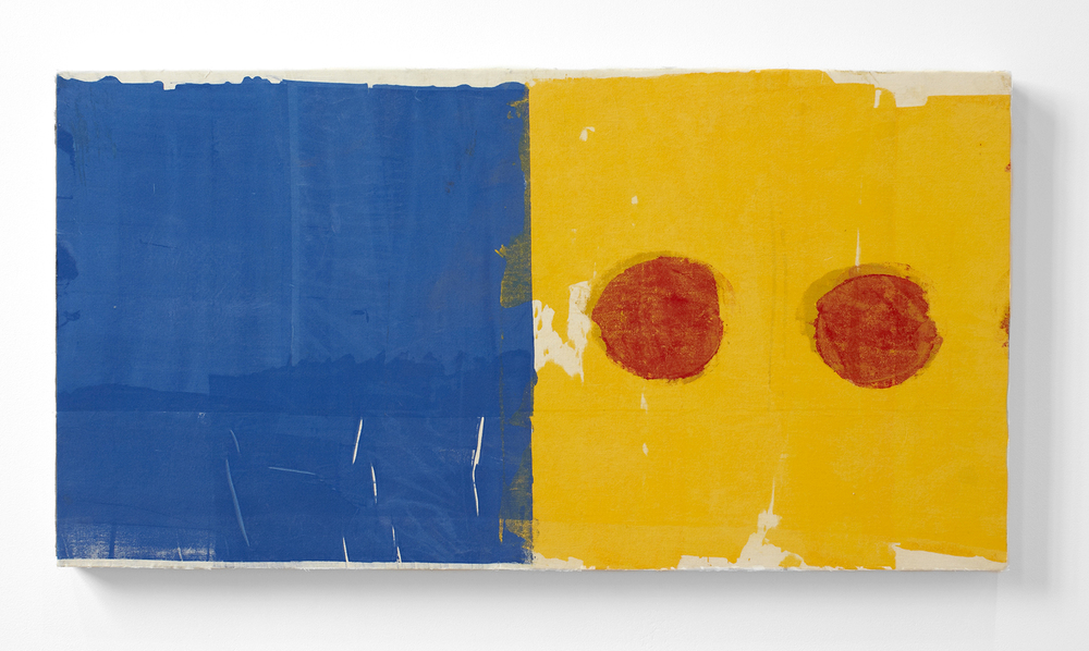 Jesse Littlefield. Blue See, 2014, screen printing ink on muslin on canvas, 47x90 cm.