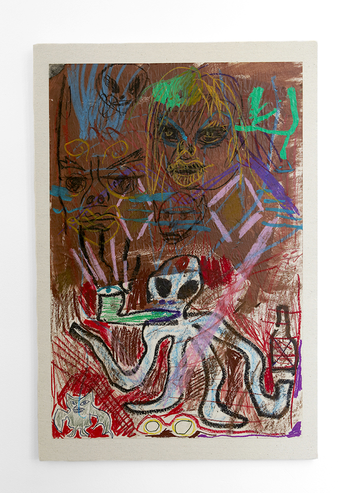 Bill Saylor. Untitled, 2014, acryllic, crayon on paper mounted on canvas. 70x100 cm.