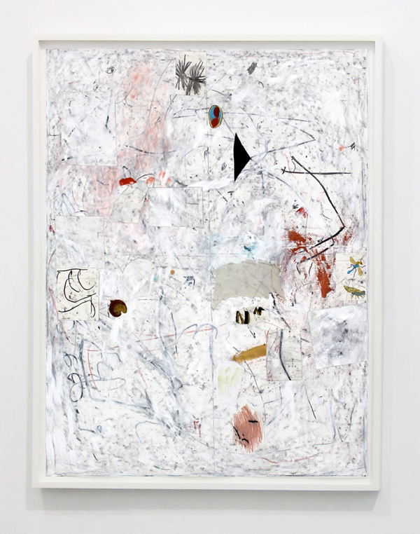 Joseph Hart. Untitled, 2014, collage, acrylic, t-shirt, foliage, oil crayon and graphite on paper in floating, white frame, 135x104 cm.